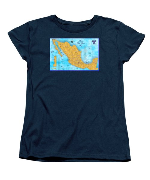 Mexico Surf Map  Women's T-Shirt (Standard Cut) by Lucan Hirales