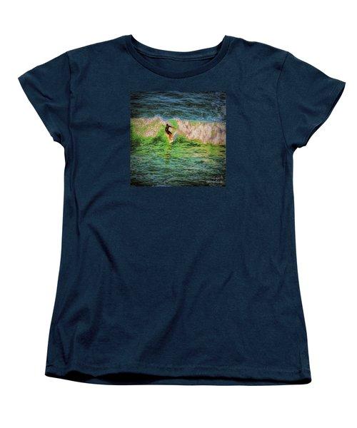 Women's T-Shirt (Standard Cut) featuring the photograph Surfer  ... by Chuck Caramella