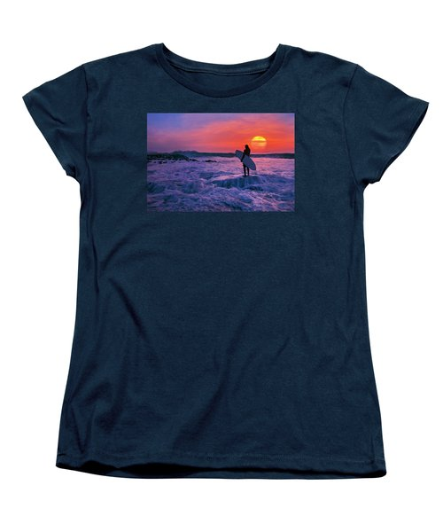 Surfer On Rock Looking Out From Blowing Rocks Preserve On Jupiter Island Women's T-Shirt (Standard Cut) by Justin Kelefas