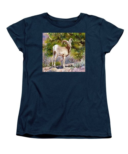 Women's T-Shirt (Standard Cut) featuring the painting Surprised On The Trail by Anne Gifford