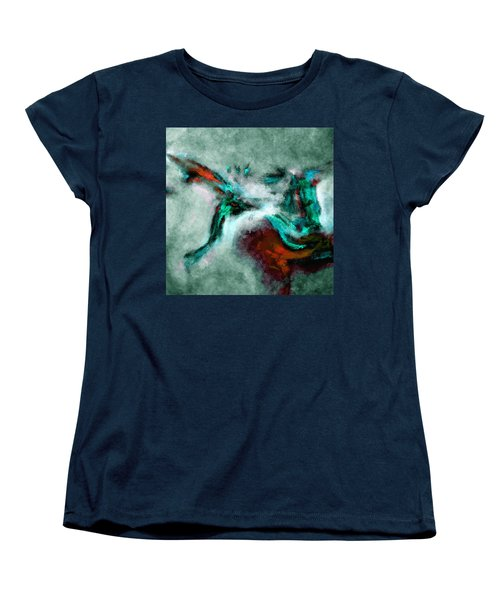 Women's T-Shirt (Standard Cut) featuring the painting Surrealist And Abstract Painting In Orange And Turquoise Color by Ayse Deniz