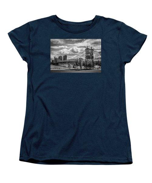 Suspension Bridge Black And White Women's T-Shirt (Standard Cut) by Scott Meyer