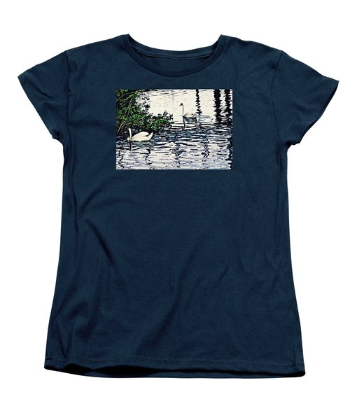Women's T-Shirt (Standard Cut) featuring the photograph Swan Family On The Rhine 3 by Sarah Loft
