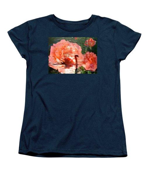 Swan In Lake With Orange Flowers Women's T-Shirt (Standard Cut)