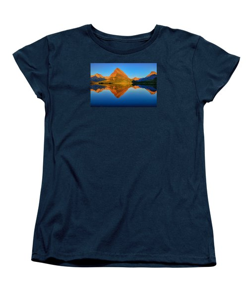 Women's T-Shirt (Standard Cut) featuring the photograph Swiftcurrent Morning Reflections by Greg Norrell