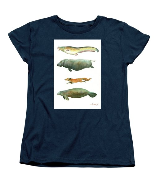 Swimming Animals Women's T-Shirt (Standard Cut) by Juan Bosco