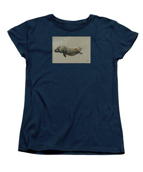 Swimming Hippo Women's T-Shirt (Standard Cut) by Juan  Bosco