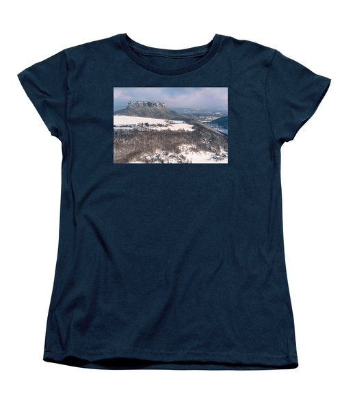 Women's T-Shirt (Standard Cut) featuring the photograph Table Mountain Pfaffenstein. Saxony by Jenny Rainbow