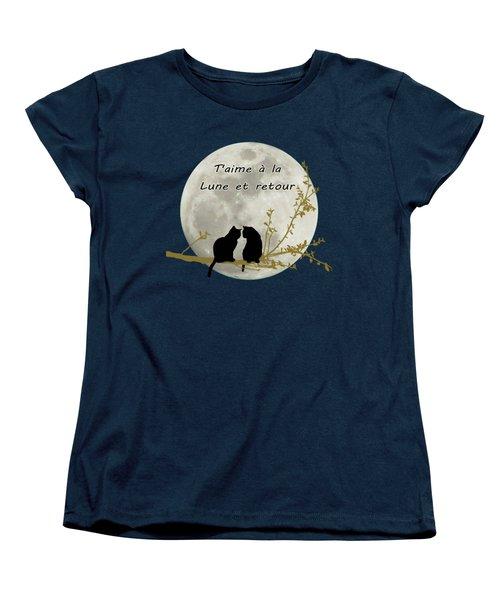 Women's T-Shirt (Standard Cut) featuring the digital art T'aime A La Lune Et Retour by Linda Lees