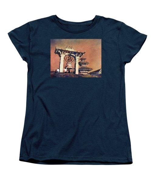 Women's T-Shirt (Standard Cut) featuring the painting Taleju Bell- Patan, Nepal by Ryan Fox