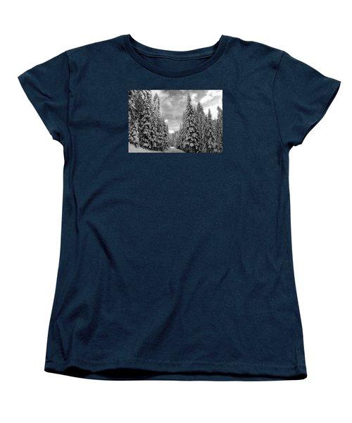 Tall Snowy Trees Women's T-Shirt (Standard Cut) by Lynn Hopwood
