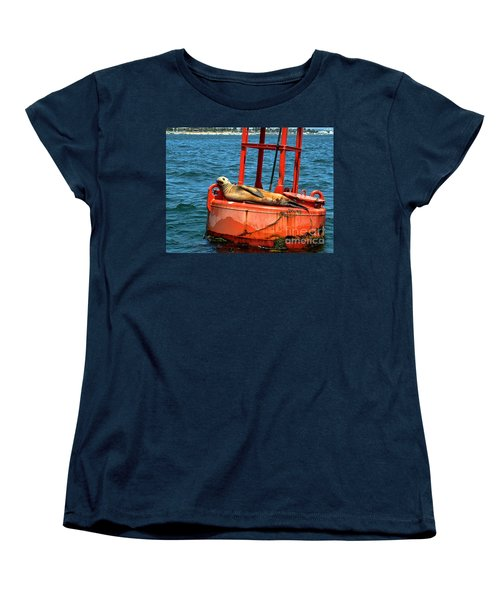 Women's T-Shirt (Standard Cut) featuring the photograph Tanning Sea Lion On Buoy by Mariola Bitner