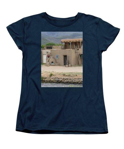 Taos Pueblo Adobe House With Pots Women's T-Shirt (Standard Cut) by Allen Sheffield