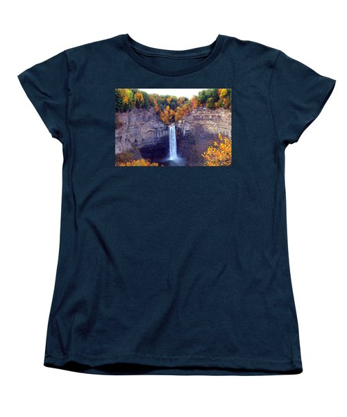 Taughannock Waterfalls In Autumn Women's T-Shirt (Standard Cut) by Paul Ge