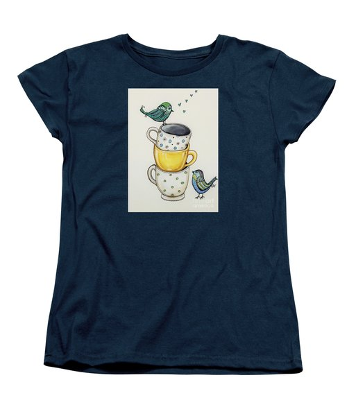Women's T-Shirt (Standard Cut) featuring the painting Tea Time Friends by Elizabeth Robinette Tyndall