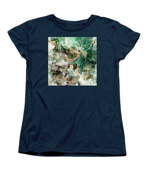 Women's T-Shirt (Standard Cut) featuring the painting Teal And Cream Abstract Painting by Ayse Deniz
