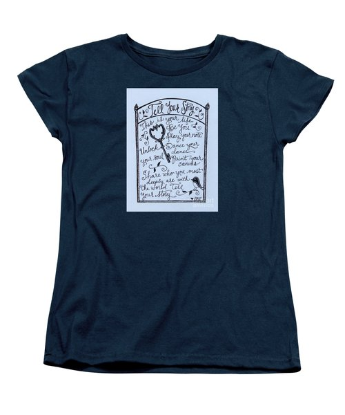 Women's T-Shirt (Standard Cut) featuring the painting Tell Your Story by Elizabeth Robinette Tyndall