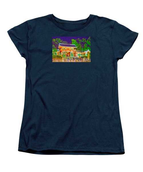 Women's T-Shirt (Standard Cut) featuring the painting Temple In Kyoto by Pravine Chester