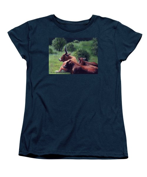 Women's T-Shirt (Standard Cut) featuring the painting Tennessee Longhorn Steers by Janet King