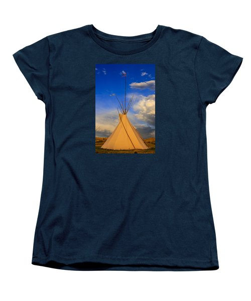 Tepee At Sunset In Montana Women's T-Shirt (Standard Cut) by Chris Smith