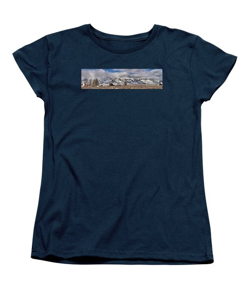 Women's T-Shirt (Standard Cut) featuring the photograph Teton Mormon Homestead Panorama by Adam Jewell