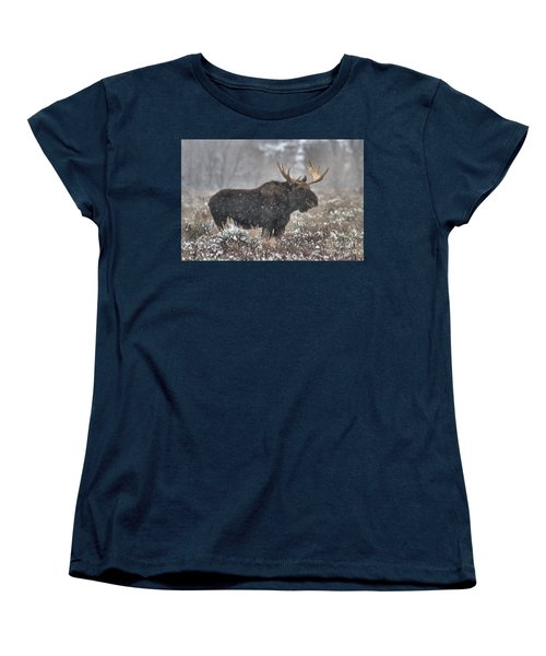 Women's T-Shirt (Standard Cut) featuring the photograph Teton Snowy Moose by Adam Jewell