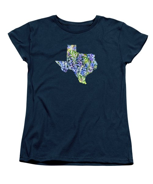 Texas Blue Texas Map On White Women's T-Shirt (Standard Cut) by Hailey E Herrera