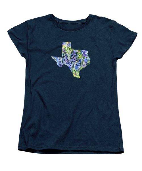 Texas Blue Texas Map On White Women's T-Shirt (Standard Cut)