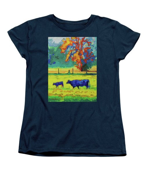 Texas Cow And Calf At Sunset Print Bertram Poole Women's T-Shirt (Standard Cut) by Thomas Bertram POOLE