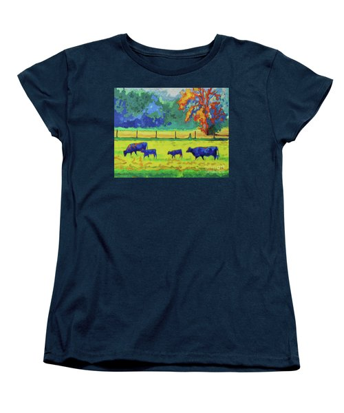 Women's T-Shirt (Standard Cut) featuring the painting Texas Cows And Calves At Sunset Painting T Bertram Poole by Thomas Bertram POOLE