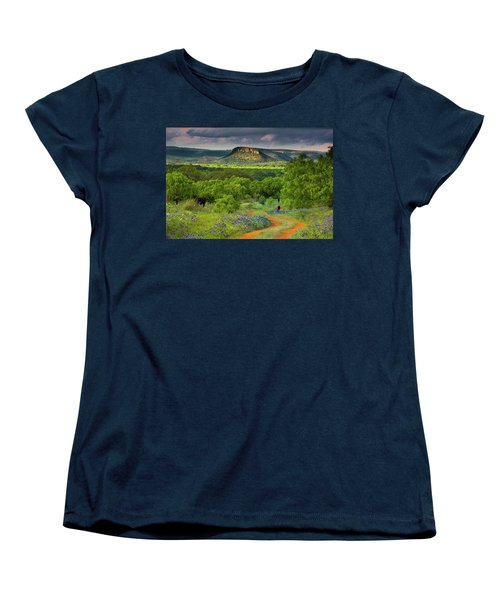 Women's T-Shirt (Standard Cut) featuring the photograph Texas Hill Country Ranch Road by Darryl Dalton