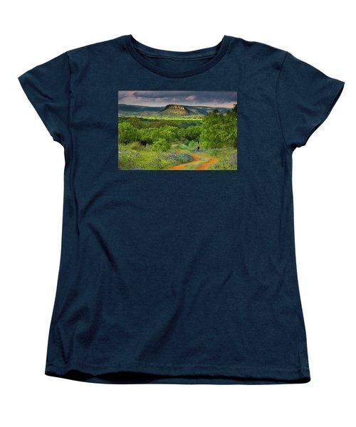 Texas Hill Country Ranch Road Women's T-Shirt (Standard Cut) by Darryl Dalton