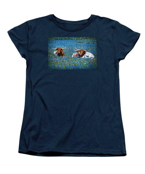 Texas In Blue Women's T-Shirt (Standard Cut) by Linda Unger