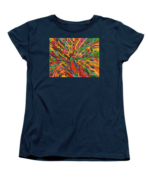 Women's T-Shirt (Standard Cut) featuring the painting That Bloomin Peacock by Alison Caltrider