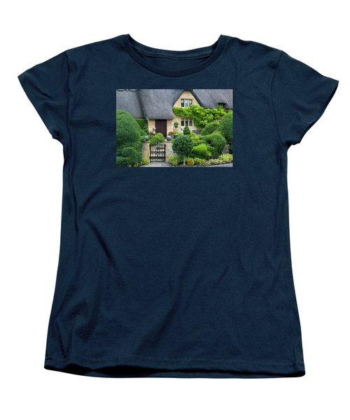 Women's T-Shirt (Standard Cut) featuring the photograph Thatch Roof Cottage Home by Brian Jannsen