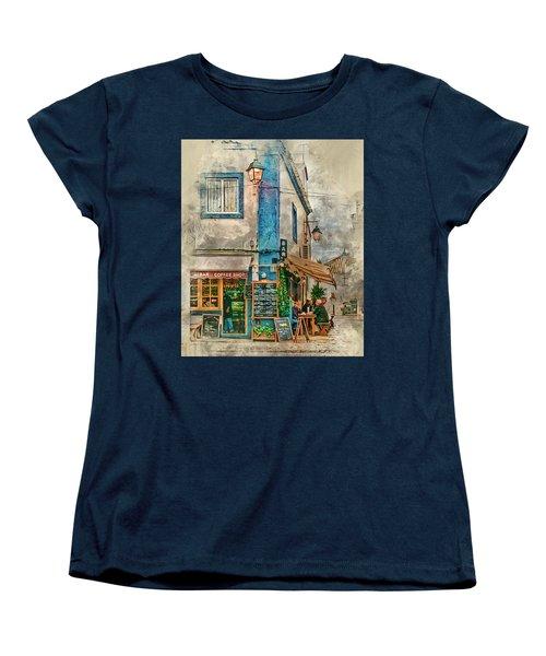 The Albar Coffee Shop In Alvor. Women's T-Shirt (Standard Cut) by Brian Tarr