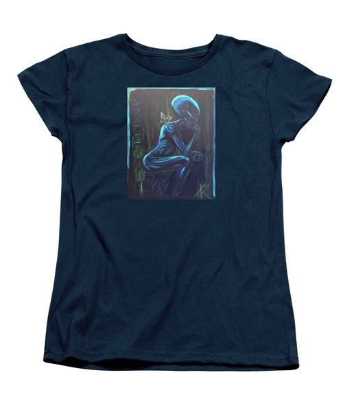 Women's T-Shirt (Standard Cut) featuring the painting The Alien Thinker by Similar Alien