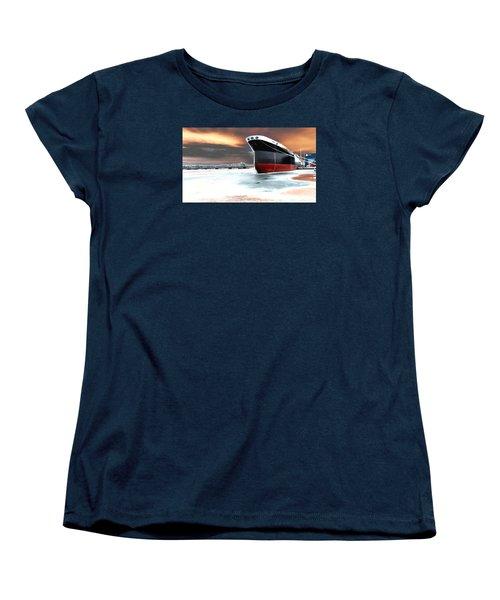 The Ship And The Steel Bridge. Women's T-Shirt (Standard Cut) by Jake Whalen