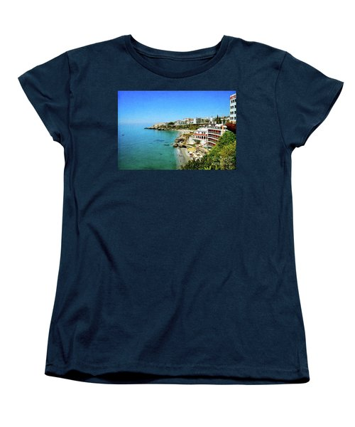 Women's T-Shirt (Standard Cut) featuring the photograph The Beach - Nerja Spain by Mary Machare