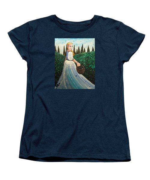 The Blueberry Harvest Women's T-Shirt (Standard Cut) by Mary Ellen Frazee