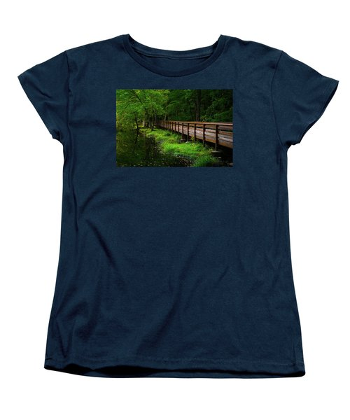 Women's T-Shirt (Standard Cut) featuring the photograph The Bridge At Wolfe Park by Karol Livote