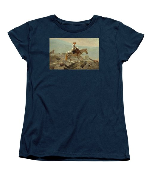 Women's T-Shirt (Standard Cut) featuring the painting The Bridle Path, White Mountains - 1868 by Winslow Homer