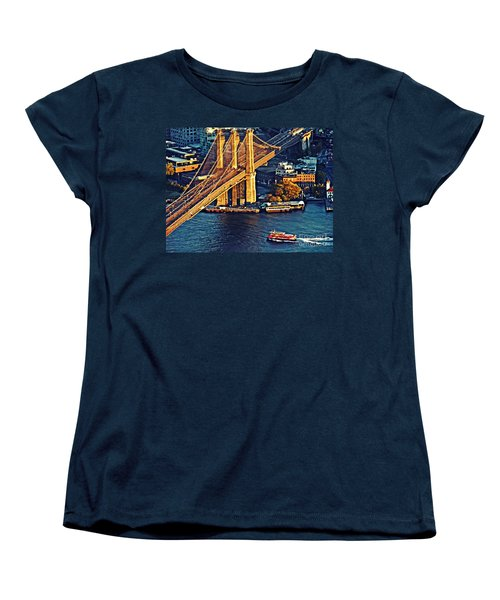 Women's T-Shirt (Standard Cut) featuring the photograph The Brooklyn Bridge At Sunset   by Sarah Loft