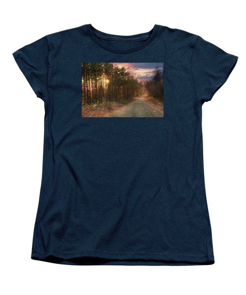 Women's T-Shirt (Standard Cut) featuring the photograph The Brown Path Before Me by Lori Deiter