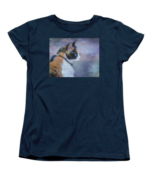 Women's T-Shirt (Standard Cut) featuring the digital art The Calico Staredown  by Colleen Taylor