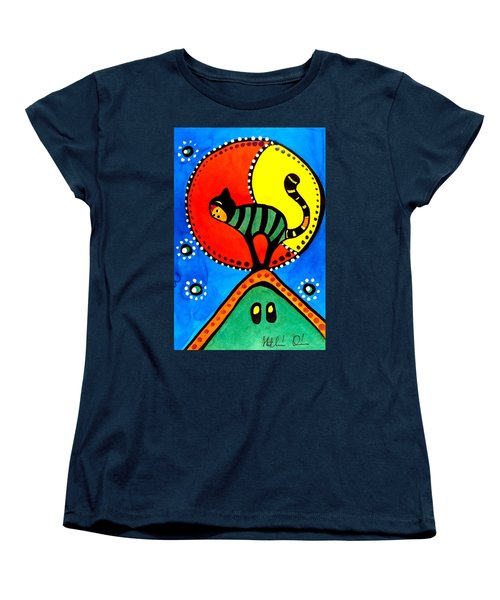 The Cat And The Moon - Cat Art By Dora Hathazi Mendes Women's T-Shirt (Standard Cut) by Dora Hathazi Mendes