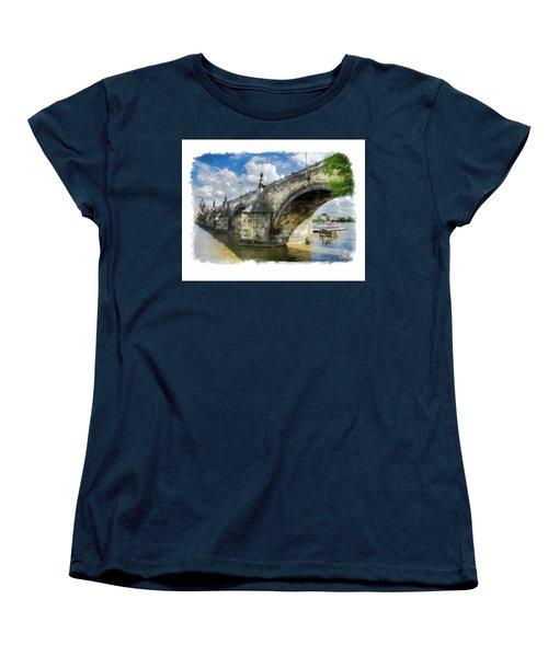 The Charles Bridge - Prague Women's T-Shirt (Standard Cut) by Tom Cameron