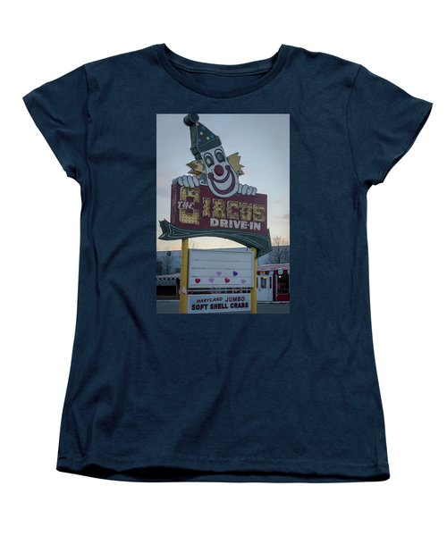 Women's T-Shirt (Standard Cut) featuring the photograph The Circus Drive In Sign Wall Township Nj by Terry DeLuco