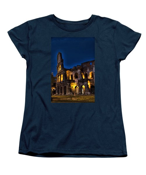 The Coleseum In Rome At Night Women's T-Shirt (Standard Cut) by David Smith