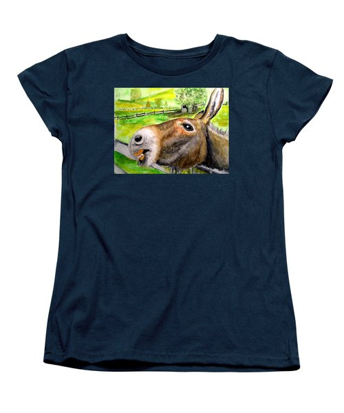 Women's T-Shirt (Standard Cut) featuring the painting The Country Mule by Carol Grimes